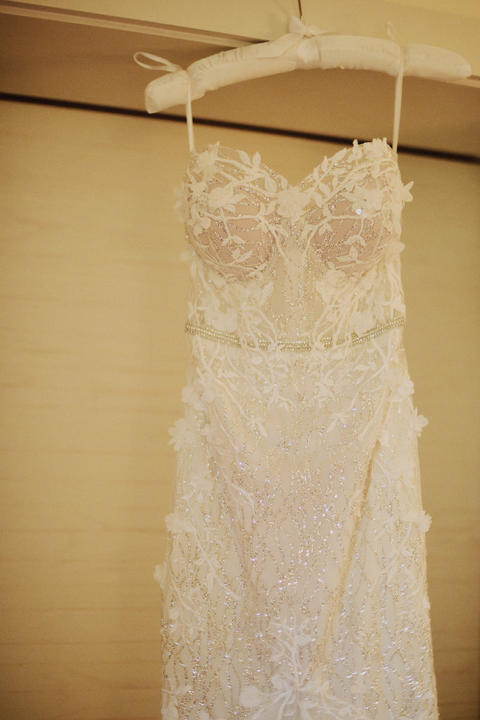 Berta '17-110' size 4 used wedding dress front view close up on hanger