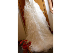 Monique Luo '515' size 4 used wedding dress back view of train