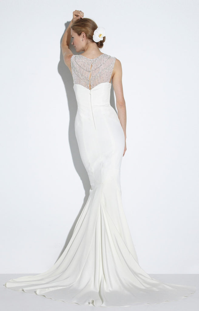 Nicole Miller 'Lily' size 6 new wedding dress back view on model