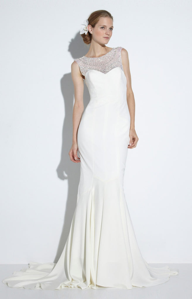 Nicole Miller 'Lily' size 6 new wedding dress front view on model