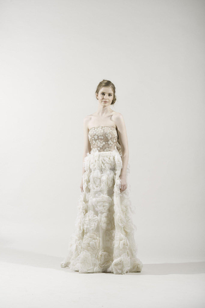 Valentino Blush Rosette Gown - Valentino - Nearly Newlywed Bridal Boutique - 4