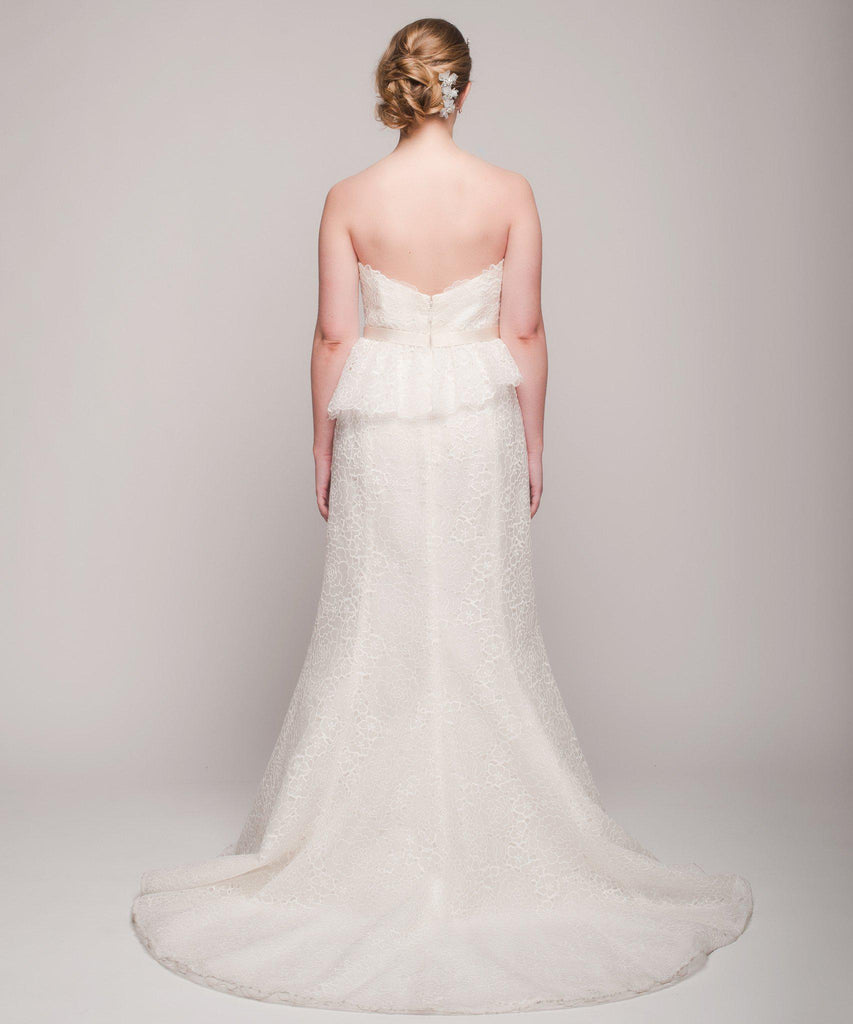 Christos 'Gretta' Peplum Silk Organza Gown - Christos - Nearly Newlywed Bridal Boutique - 3