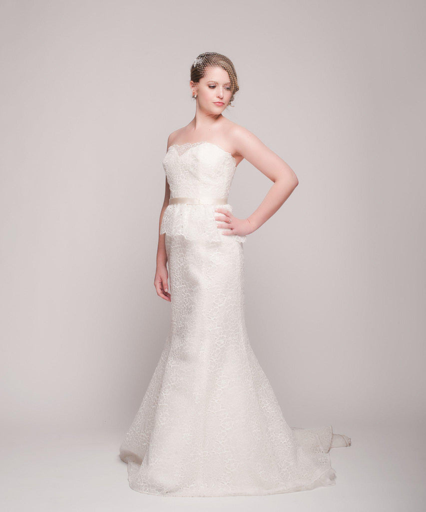 Christos 'Gretta' Peplum Silk Organza Gown - Christos - Nearly Newlywed Bridal Boutique - 2