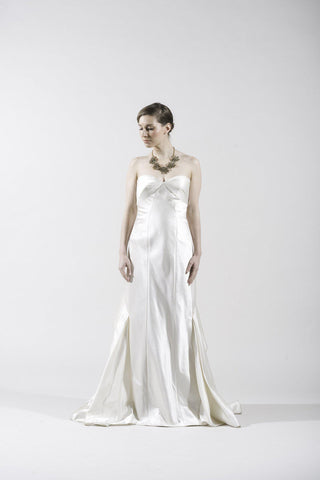 Anna Maier Couture Ivory Silk Satin Gown