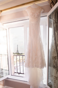 Monique Lhuillier 'Embroidered Lace Mermaid' size 4 used wedding dress front view on hanger