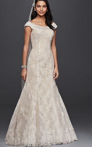Oleg Cassini 'Style # CWG533 ivory lace off the shoulder dress'