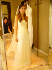 Jenny Lee 'Silk Taffeta' size 4 used wedding dress front view on bride