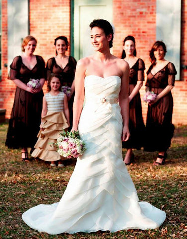 Priscilla of Boston Cascading Pleated Wedding Dress
