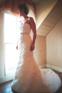 Priscilla of Boston Cascading Pleated Wedding Dress - Priscilla of Boston - Nearly Newlywed Bridal Boutique - 3