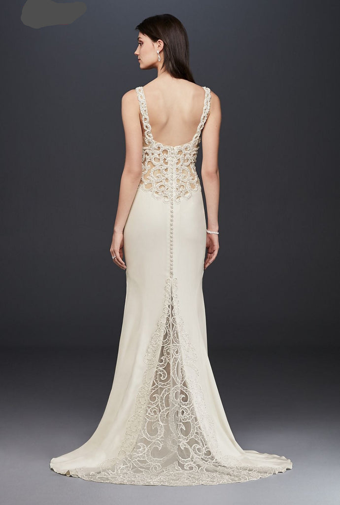 Galina Signature 'Beaded Illusion' size 8 new wedding dress back view on model