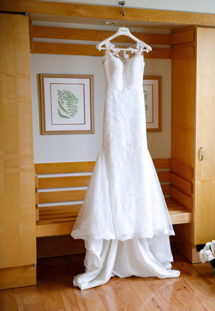Pronovias 'Tibet/Pladie' size 2 used wedding dress front view on hanger
