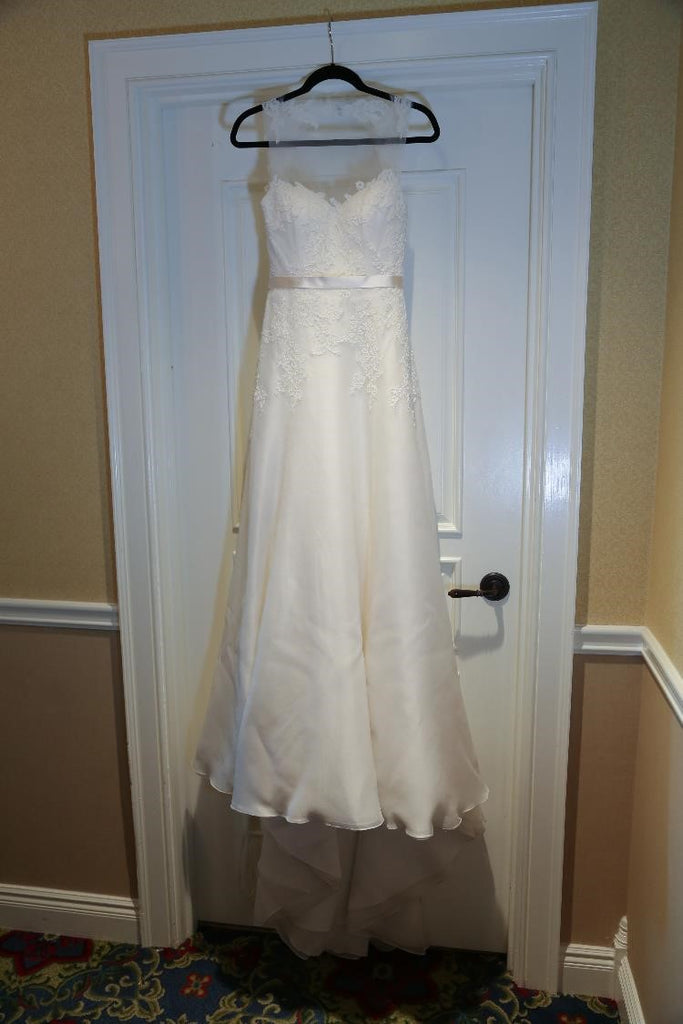 Christos 'Ophelia' size 4 used wedding dress front view on hanger