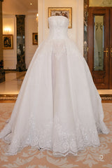 Jacy Kay 'Custom' size 6 used wedding dress front view on hanger