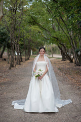 Pronovias 'Barcli' size 6 used wedding dress front view on bride