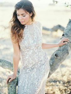 Elie Saab Light Taupe Fully Sequined Wedding Dress - Elie Saab - Nearly Newlywed Bridal Boutique - 1