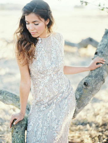 Elie Saab Light Taupe Fully Sequined Wedding Dress