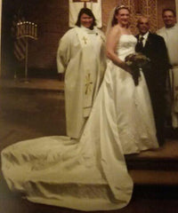 Mary's Designer '5218' size 14 used wedding dress front view on bride