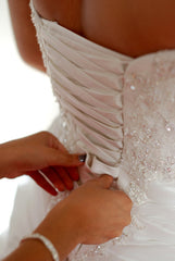 Maggie Sottero 'Sabelle' size 14 used wedding dress back view close up on bride