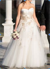 Enzoani 'Galela' size 8 used wedding dress front view on bride