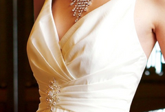 Jasmine 'F313' size 10 sample wedding dress front view close up on model