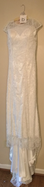 Allure 'C324' size 10 used wedding dress front view on hanger