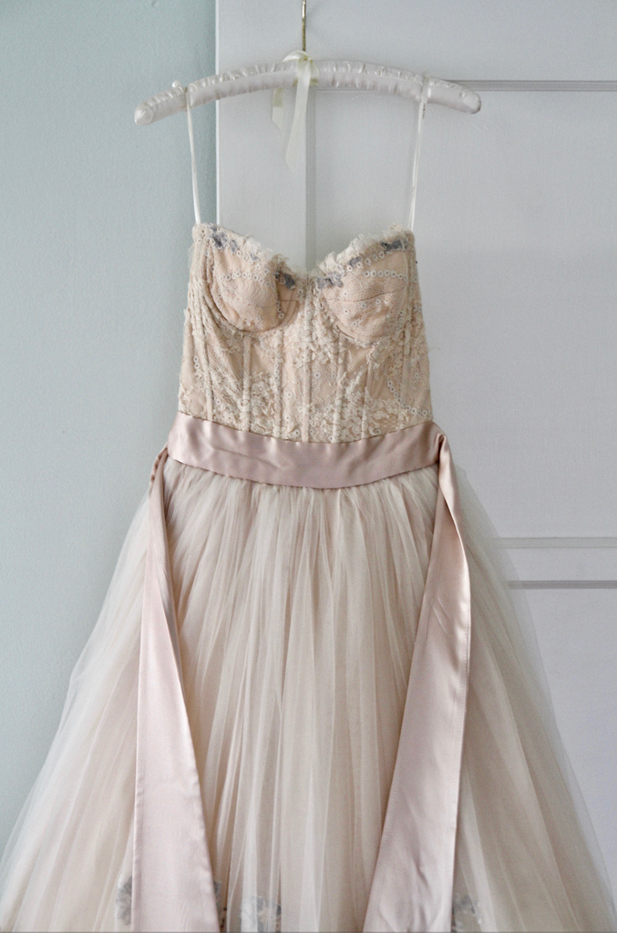 Vera Wang 'Emmeline' size 2 used wedding dress front view on hanger