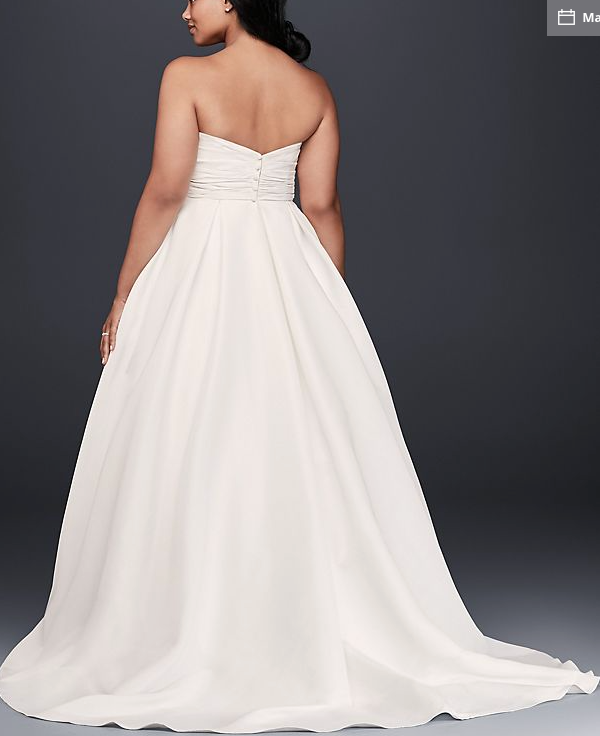 53353be9f56 David s Bridal  Empire Waist  size 18 used wedding dress back view ...