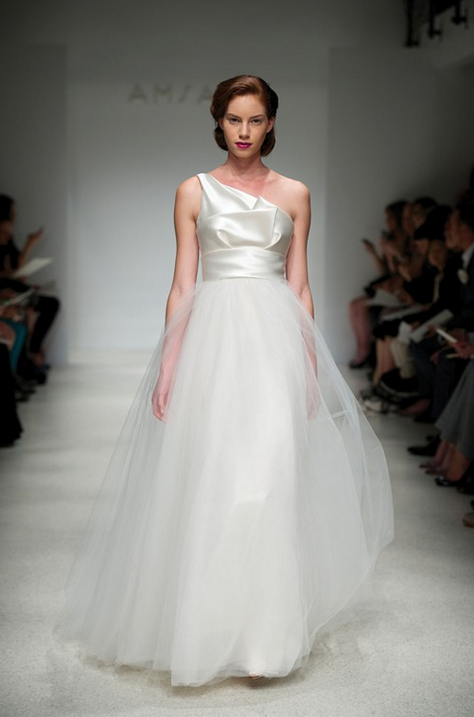 Amsale 'Parker' One-Shoulder Wedding Dress - Amsale - Nearly Newlywed Bridal Boutique - 1