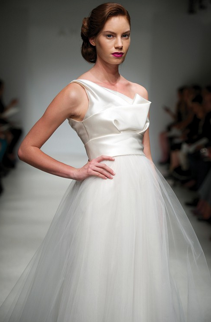 Amsale 'Parker' One-Shoulder Wedding Dress - Amsale - Nearly Newlywed Bridal Boutique - 3