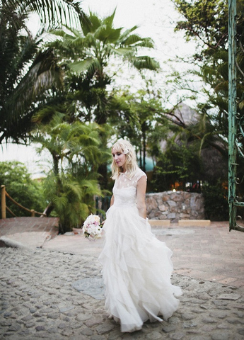 Valentino Lace & Ruffled Silk Organza Wedding Dress