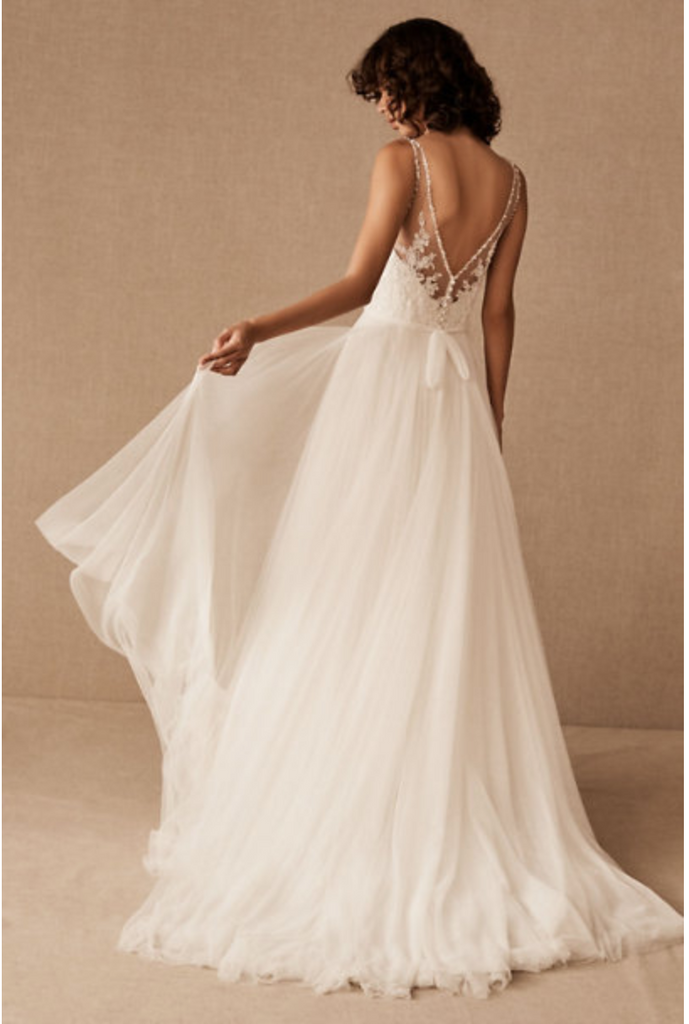 BHLDN 'Cassia' size 2 used wedding dress back view on model