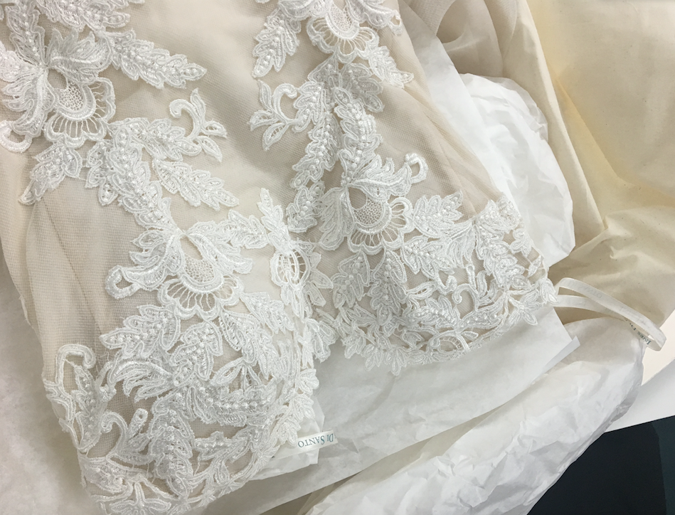 Ines Di Santo 'Elisavet' size 2 used wedding dress close up of material