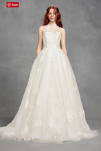 Load image into Gallery viewer, Vera Wang White 'Illusion Floral' size 4 new wedding dress front view on model