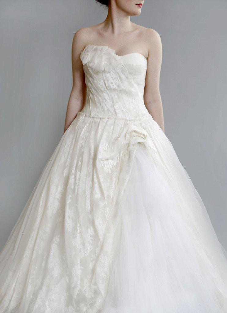 Vera Wang 'Freida' Painted Organza Dress - Vera Wang - Nearly Newlywed Bridal Boutique - 3