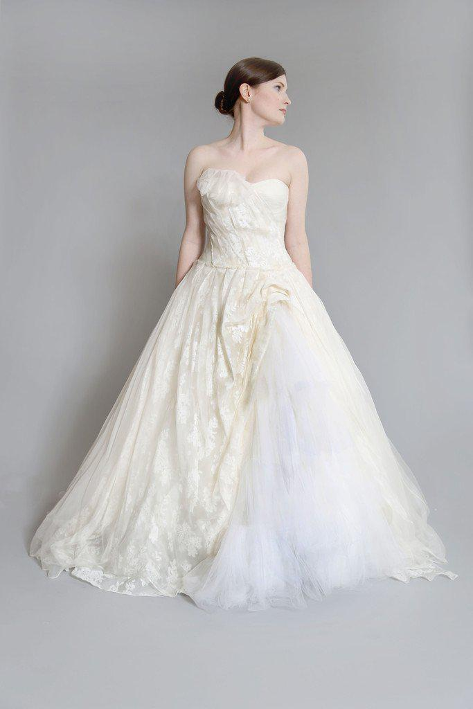 Vera Wang 'Freida' Painted Organza Dress - Vera Wang - Nearly Newlywed Bridal Boutique - 2
