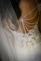 Nicole Spose 'NIAB 1840' size 6 used wedding dress back view close up