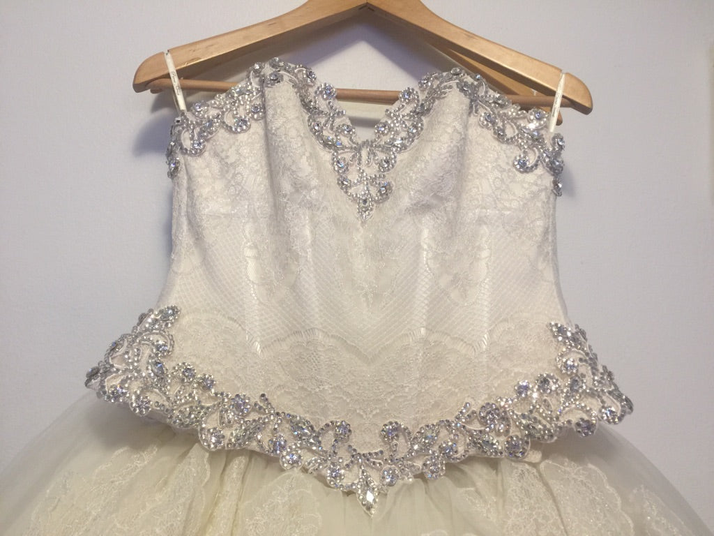 Pnina Tornai '2 Piece' size 6 used wedding dress front view close up on hanger