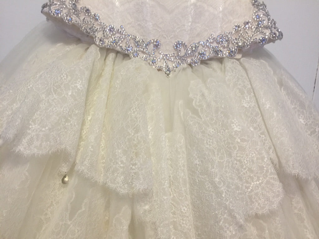 Pnina Tornai '2 Piece' size 6 used wedding dress view of ruffles
