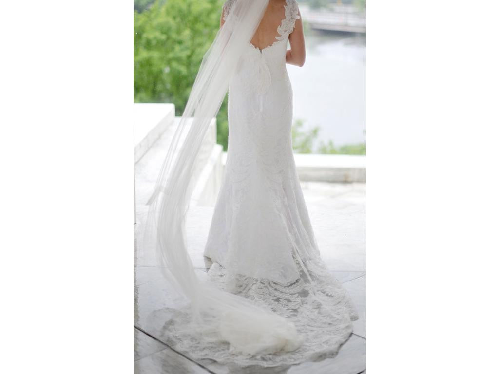 Anna Maier 'Aimee' size 2 used wedding dress back view with veil