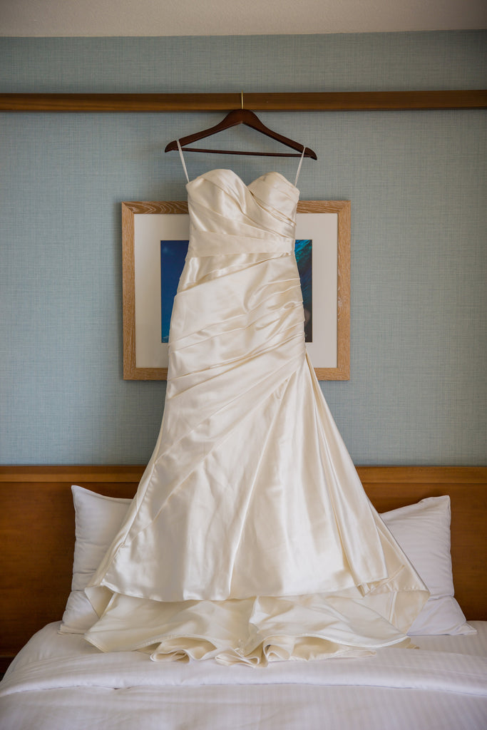 Pronovias 'Tigris' size 4 used wedding dress front view on hanger