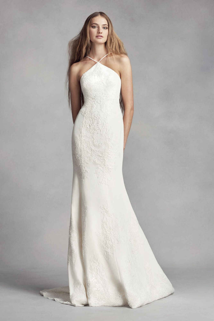 Vera Wang White '351346' size 8 used wedding dress front view on model
