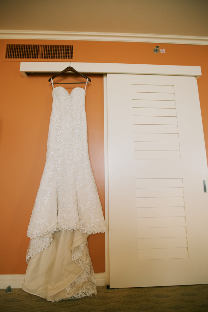 Essence of Australia '1985' size 2 used wedding dress front view on hanger