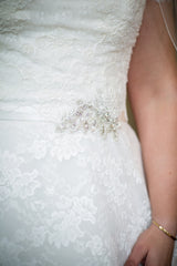 Ella Rosa 'Martizz' size 14 used wedding dress front view of trim