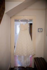 Ella Rosa 'Martizz' size 14 used wedding dress front view on hanger