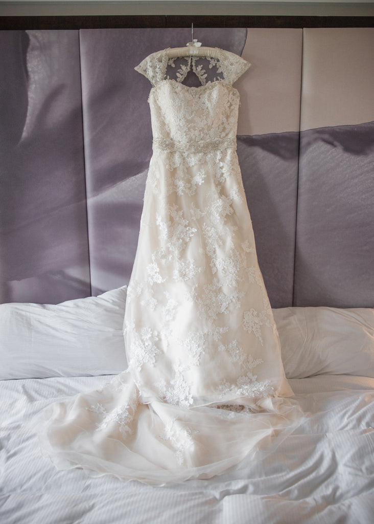 Mori Lee 'Embroidered and Venice Lace' size 16 used wedding dress front view on hanger