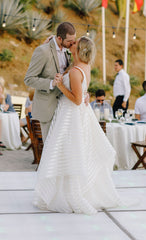 Hayley Paige 'Decklyn' size 10 used wedding dress side view on bride