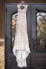 David Tutera 'Lourdes' size 4 used wedding dress front view on hanger