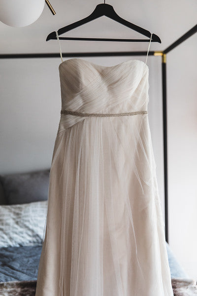 Casablanca 'Beloved' size 6 used wedding dress front view on hanger
