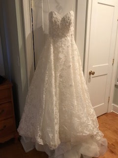 Anne Barge 'Amberley' size 4 used wedding dress front view on hanger