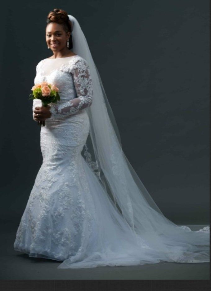 Galina Signature 'Plunge Illusion' size 10 used wedding dress front view on bride